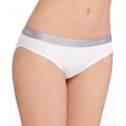 CALVIN KLEIN dámské bílé kalhotky se stříbrnou gumou v pase Bikini QD3540