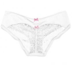 VICTORIA'S SECRET bílé dámské kalhotky Heart Lace Ruched-back Hiphugger Panty